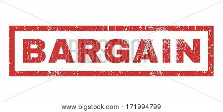 Bargain text rubber seal stamp watermark. Tag inside rectangular banner with grunge design and dirty texture. Horizontal vector red ink sticker on a white background.