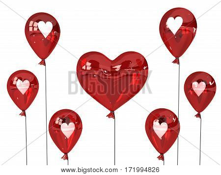 Love hearts balloons group inflated 3d illustration horizontal isolated