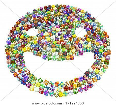 Gift large group 3d illustration smile shape horizontal over white
