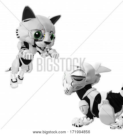 Robotic kittens two playing 3d illustration horizontal isolated