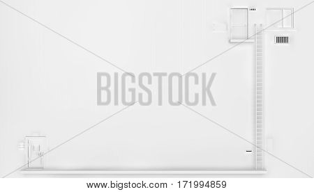 Wall front apartment doors white abstract 3d illustration horizontal