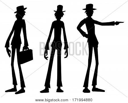 Tall person character black silhouettes, vector illustration, horizontal, isolated, over white