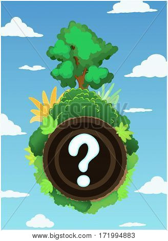 Landscape sphere question nature cartoon, vector illustration, vertical