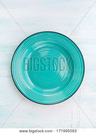 Pastel Color turquoise ceramic plate dish top view background
