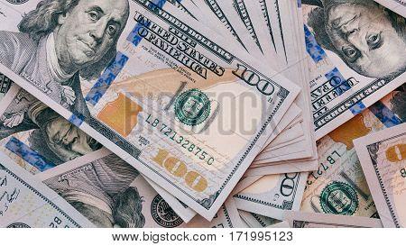 texture of one hundred dollar bills. Counting New Dollar Bills