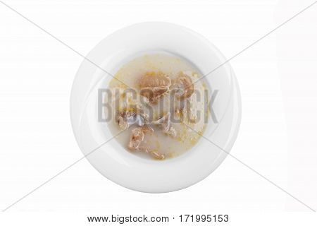 hash soup traditional Georgian dish white background top view