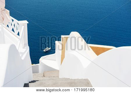 White Architecture On Santorini Island, Greece