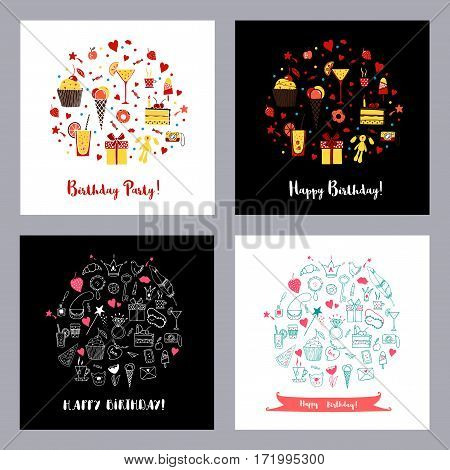 Set of Happy birthday greeting cards on black and white backgrounds. Hand drawn doodle vector set with cake, cupcake, drinks.