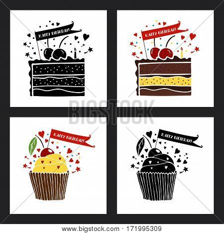 Happy birthday greeting cards set. Vector illustrations with cupcake and cake. Greeting card template.