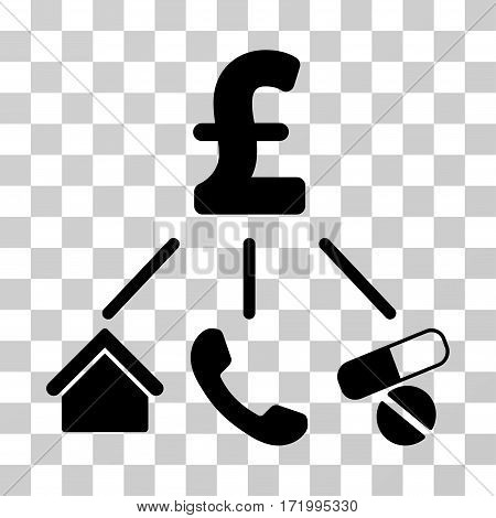 Life Pound Expenses vector pictograph. Illustration style is a flat iconic black symbol on a transparent background.