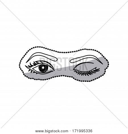 sticker contour Winking woman's eyes vector illustration