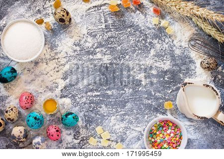 Cooking Recipe Background For The Celebration Of Easter: Quail Eggs, Milk, Sugar And Wheat Flour On