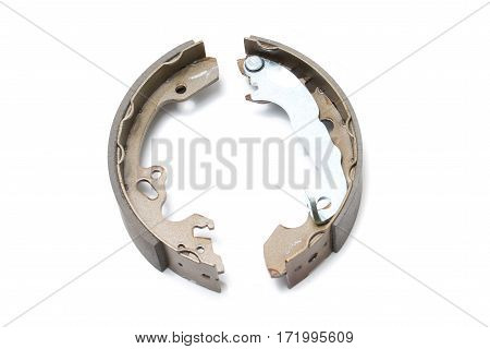 Brand new brake shoes on the white background
