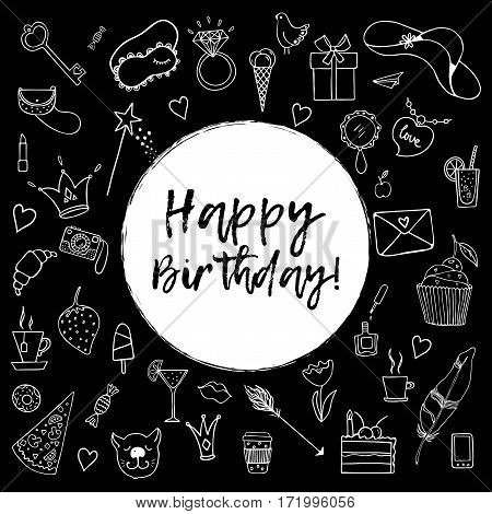 Happy birthday greeting card. Hand drawn doodle vector set with presents for girl on black background. Modern princess icons.  Isolated vector objects.