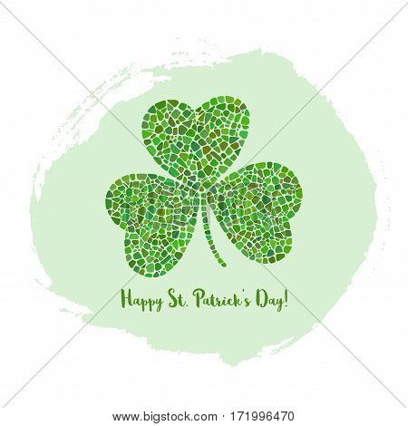 St. Patrick's Day greeting card with clover on green ink background. Clover mosaic icon.
