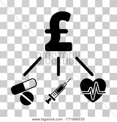 Medical Pound Budget vector pictogram. Illustration style is a flat iconic black symbol on a transparent background.