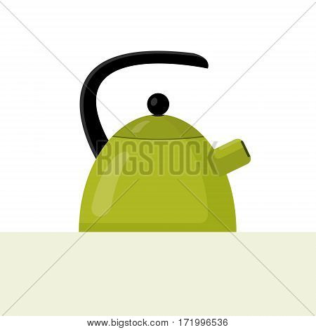 Vector flat style illustration of green kettle with highlights and shadows.