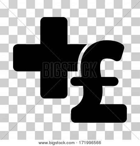 Medical Pound Business vector icon. Illustration style is a flat iconic black symbol on a transparent background.