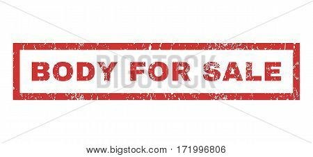 Body For Sale text rubber seal stamp watermark. Tag inside rectangular shape with grunge design and scratched texture. Horizontal vector red ink emblem on a white background.