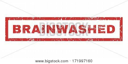 Brainwashed text rubber seal stamp watermark. Tag inside rectangular shape with grunge design and dust texture. Horizontal vector red ink sign on a white background.