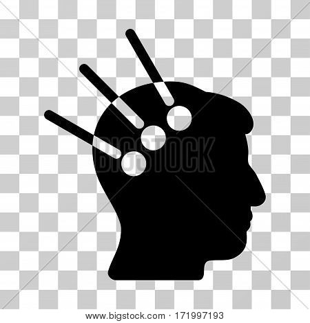 Neural Interface vector pictograph. Illustration style is a flat iconic black symbol on a transparent background.