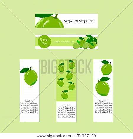 Design banners with ripe juicy lime fruit for company