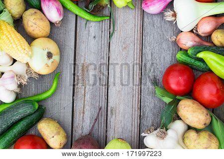 Harvest Time. A Basket Of Vegetables On A Wooden Table