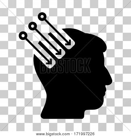 Neuro Interface vector pictograph. Illustration style is a flat iconic black symbol on a transparent background.