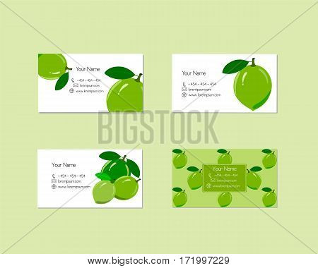 Design business cards with ripe juicy lime fruit for company