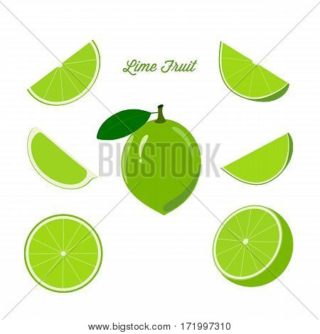 Lime fruit and ripe juicy slices on a white background