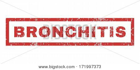Bronchitis text rubber seal stamp watermark. Tag inside rectangular banner with grunge design and unclean texture. Horizontal vector red ink sign on a white background.