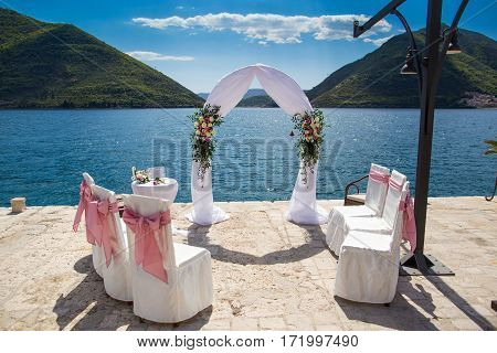 Wedding arch and decoration at Adriatic bay