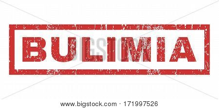 Bulimia text rubber seal stamp watermark. Tag inside rectangular banner with grunge design and scratched texture. Horizontal vector red ink emblem on a white background.