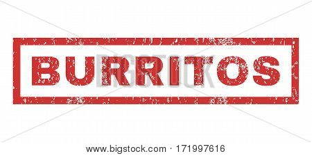 Burritos text rubber seal stamp watermark. Tag inside rectangular banner with grunge design and dirty texture. Horizontal vector red ink emblem on a white background.