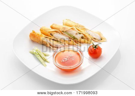 Snacks, Chicken Spring roll with sweet chili sauce in a white plate on a white background