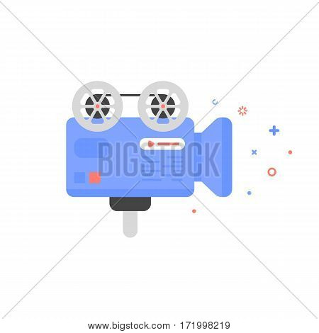 Vector cinema illustration of video camera icon in flat linear style. Graphic design concept of video shooting. Outline object. Use in Web Project and Applications.