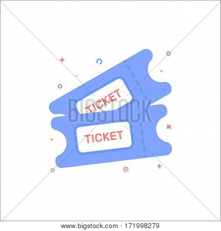 Vector cinema illustration of tickets icon in flat linear style. Graphic design concept of ticket for movie. Outline object. Use in Web Project and Applications.