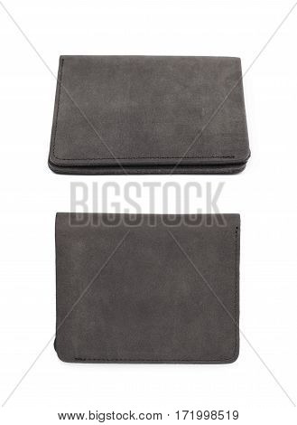 Flat foldable black leather wallet isolated over the white background, set of two different foreshortenings