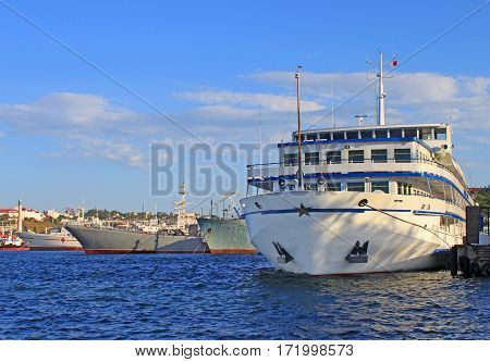 Russian and Ukrainian ships in the port. Ukraine, Sevastopol.