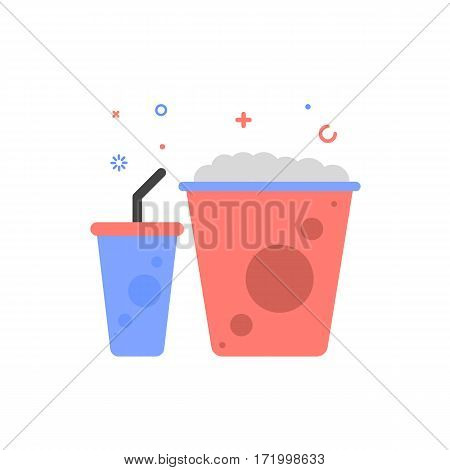Vector cinema illustration of popcorn and soda icon in flat linear style. Graphic design concept of movie food Outline object. Use in Web Project and Applications.