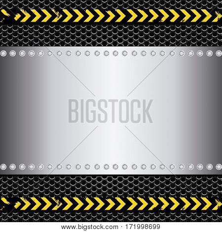 metallic grill plate and screws with line sign caution vector illustration