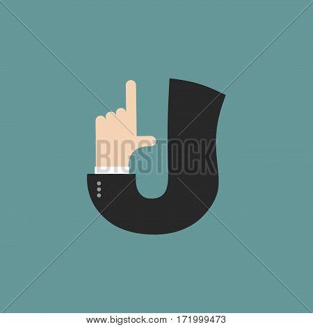 J Letter Businessman Hand Font. It Shows Finger Print. Arm Symbol Alphabet. Sign Of Abc