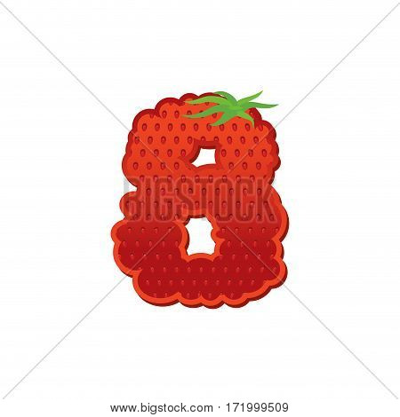 Number 8 Strawberry Font. Red Berry Lettering Eight  Alphabet. Fruits Abc