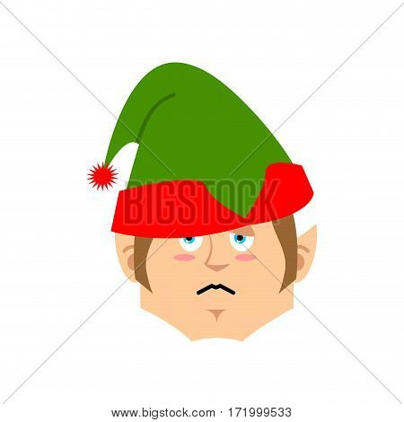 Christmas Elf Sad Emoji. Santa Helper Sorrowful Emotion