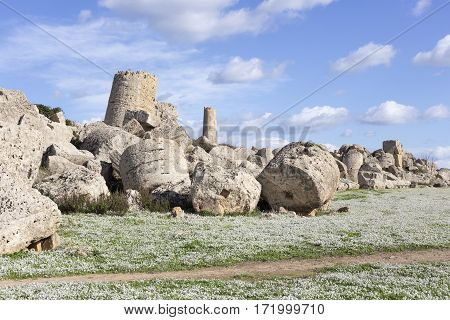 Ancient Greek temple in Selinunte Sicily Italy. Detail view