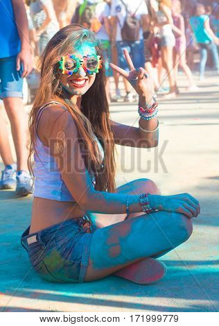 Portrait Of Happy Young Girl On Holi  Festival