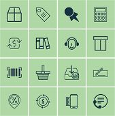 Set Of 16 Ecommerce Icons. Includes Employee, Cardboard, Finance And Other Symbols. Beautiful Design Elements. poster