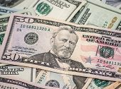 Fifty dollar macro president Grant portrait colse Up poster