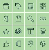 Set Of 16 Ecommerce Icons. Includes Calculator, Discount Location, Tote Bag And Other Symbols. Beautiful Design Elements. poster