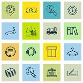 Set Of 16 Ecommerce Icons. Includes Peg, Discount Location, Buck And Other Symbols. Beautiful Design Elements. poster
